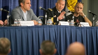 Brig. Gen. Stephen Hager, Army Reserve deputy commanding general for operations, 335th Signal Command (Theater), speaks during a panel about cyber talent management at the AUSA annual meeting at the Walter E. Washington Convention Center in Washington, D.C., on Wednesday. (Mike Morones)