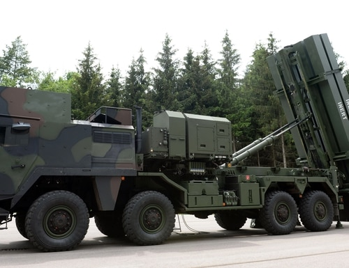 The air defense system MEADS is pictured during a press presentation at the MBDA missile systems company in Schrobenhausen, southern Germany, on June 25, 2015. The Medium Extended Air Defense System (MEADS) is a ground-based, fully mobile air defense missile system against targets from very low to very high air fields and is currently in development. MEADS will replace the air defense systems Roland, Hawk and Patriot partially. AFP PHOTO / CHRISTOF STACHE (Photo credit should read CHRISTOF STACHE/AFP/Getty Images)