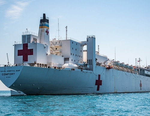 The Military Sealift Command's hospital ship Comfort navigates during Comfort Exercise 2018 on May 12, 2018. (MC3 Jonathan Clay/Navy)
