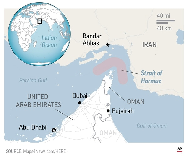 The Strait of Hormuz, though considered an international waterway, cuts through Iranian territorial waters.