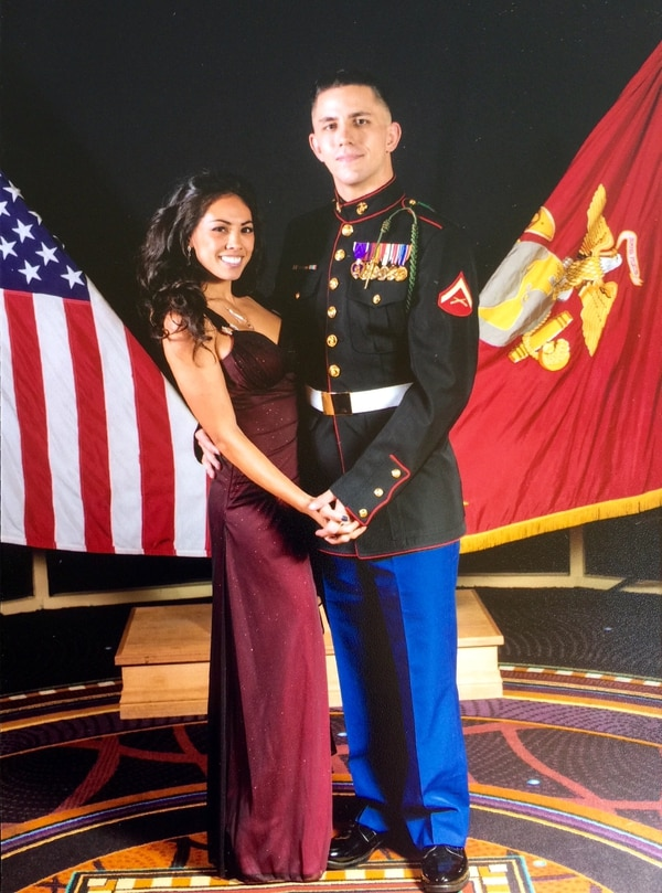 Lance Cpl. Shane Kruchten and wife Krystine at a Marine Corps ball.