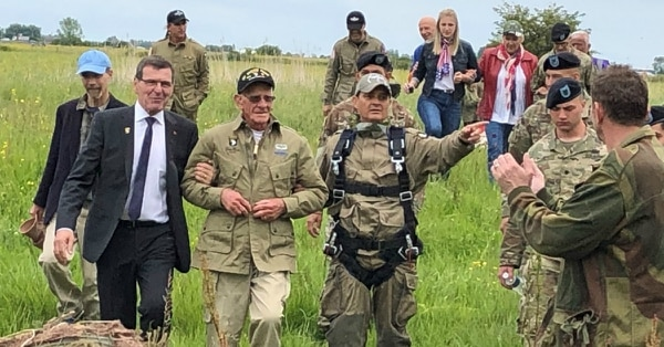 Tom Rice, a 97-year-old World War II veteran, also jumped out of an airplane over Normandy 75 years after his initial jump. (Photo courtesy of Ret. Army Maj. Gen. Edward Dorman)