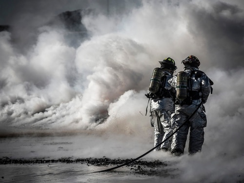 Firefighters extinguish a fire during a fire training exercise March 4, 2013, at Mountain Home Air Force Base, Idaho. (Tech. Sgt. Samuel Morse/Air Force)