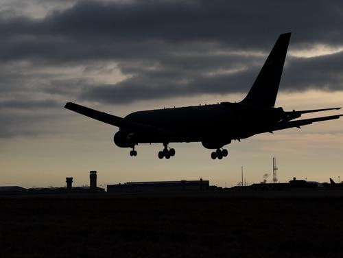 A KC-46A Pegasus arrives at McConnell Air Force Base, Kan., on Jan. 31, 2019. (Airman 1st Class Alexi Myrick/U.S. Air Force)