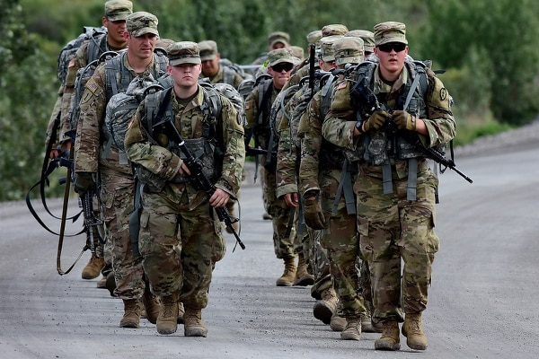 Soldiers from 5th Squadron, 1st Cavalry Regiment, 1st Stryker Brigade Combat Team, 25th Infantry Division, take part in Operation Denali Conquest, a 26.2-mile foot march along the park road in Denali National Park, Alaska, July 26, 2017. (John Pennell/Army)
