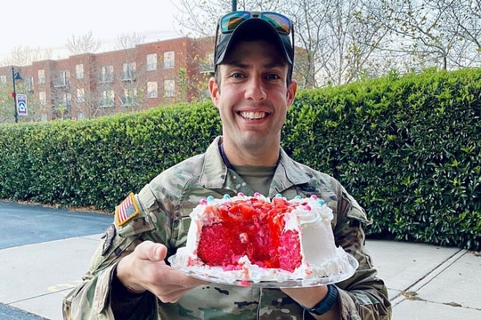 Lt. Col. Kane Mansir celebrating a gender reveal with Chelsea Curnutt. (Photos courtesy of Chelsea Curnutt)