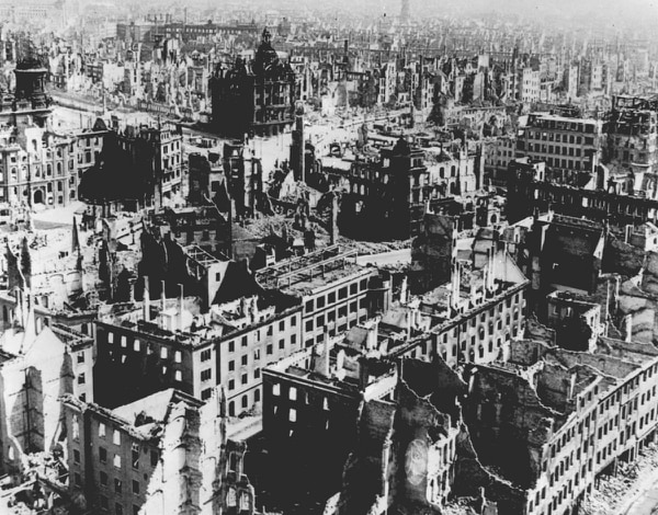 Dresden seen after Allied air raids on Feb. 13 and 14, 1945. (AP)