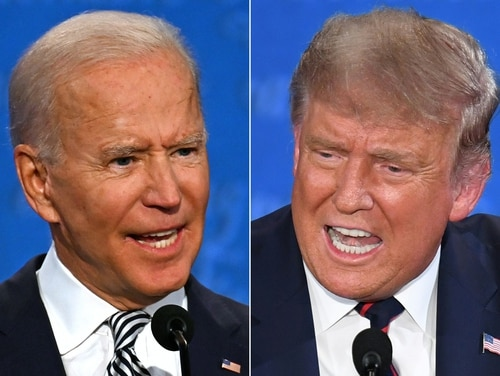 (COMBO) This combination of pictures created on September 29, 2020 shows Democratic Presidential candidate and former US Vice President Joe Biden (L) and US President Donald Trump speaking during the first presidential debate at the Case Western Reserve University and Cleveland Clinic in Cleveland, Ohio on September 29, 2020. (Photos by JIM WATSON and SAUL LOEB / AFP)