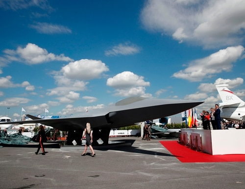 A model of the French-German-Spanish Future Combat Air System aircraft sits on the tarmac during the 53rd Paris Air Show on June 17, 2019. (Benoit Tessier/AFP via Getty Images)
