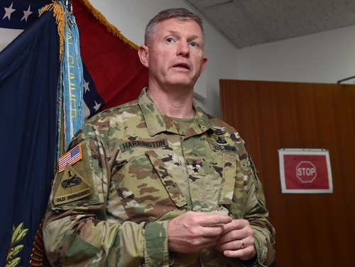 Maj. Gen. Joseph Harrington, commanding general of U.S. Army Africa, is under investigation for allegedly sending racy messages to the wife of an enlisted soldier. (Master Sgt. Paul Gorman/Air Force)