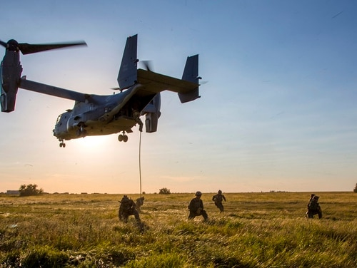 A CV-22 Osprey, like the one pictured here, performed an emergency landing in Alabama Monday. It is the third emergency landing an Air Force aircraft has performed in the past week. (DoD)