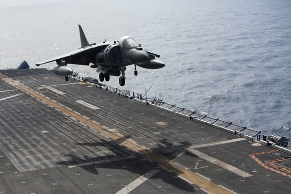 160718-M-MK246-014 MEDITERRANEAN SEA (July 18, 2016) An AV-8B Harrier II with Marine Medium Tiltrotor Squadron 264 (Reinforced), 22nd Marine Expeditionary Unit (MEU), lands on the flight deck of the amphibious assault ship USS Wasp (LHD-1) on July 18, 2016. The 22nd Marine Expeditionary Unit, Deployed with the Wasp Amphibious Ready Group, is conducting naval operations in support of U.S. national security interests in Europe. (U.S. Marine Corps photo by Cpl. John A. Hamilton Jr.)