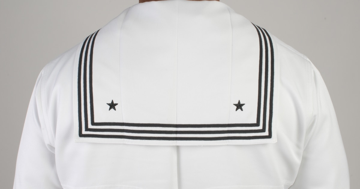 US NAVY MEN/'S WHITE DRESS JUMPER TOP SHIRT CRACKER JACK UNIFORM