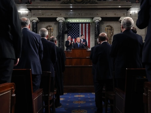 President Donald J. Trump delivers the State of the Union address in the chamber of the U.S. House of Representatives Jan. 30, 2018, in Washington. (Win McNamee/Getty Images)
