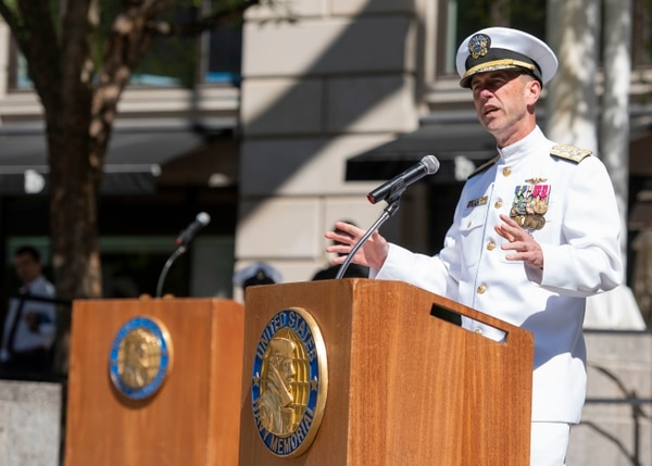 Chief of Naval Operations Adm. John Richardson speaks during the Battle of Midway Commemoration Day ceremony at the U.S. Navy Memorial on Tuesday. (Mass Communication Specialist 2nd Class Jason Amadi/Navy)