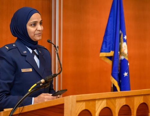 Second Lt. Saleha Jabeen speaks at her commissioning Dec. 18 about her journey to become the Air Force's first female Muslim chaplain. (Tech. Sgt. Armando Schwier-Morales/Air Force)
