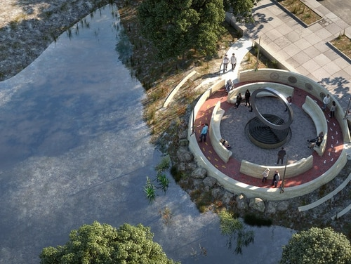 A rendering of the National Native American Veterans Memorial, Warriors' Circle of Honor, designed by Harvey Pratt. (National Museum of the American Indian)