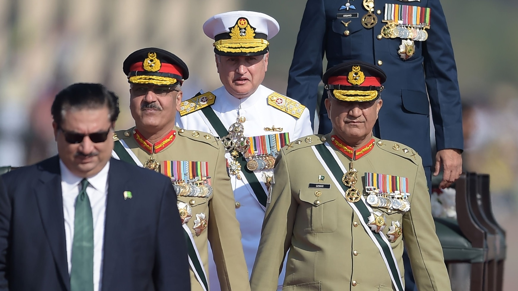 As Pakistan's chief of Naval Staff, Adm. Zafar Mahmood Abbasi, center, revealed plans to equip future warships with directed-energy weapon systems and the P282 hypersonic missile. (Aamir Qureshi/AFP via Getty Images)