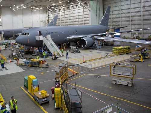 Boeing's Everett Modification Center is where 767 aircraft are transformed into KC-46 Pegasus aircraft. (Jeff Martin/Staff)