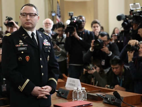 Lt. Col. Alexander Vindman, National Security Council director for European Affairs, arrives Nov. 19, 2019, to testify at the House Intelligence Committee on Capitol Hill in Washington. He announced July 8 that he would retire from the Army. (Drew Angerer/Getty Images)