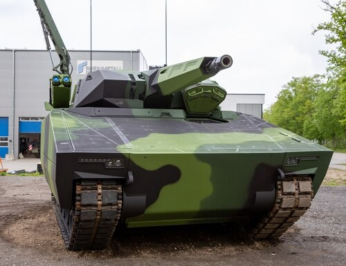 Rheinmetall's Lynx KF41 is shown on display at the company's facility in Unterleuss, Germany. (Jeff Martin/Staff)