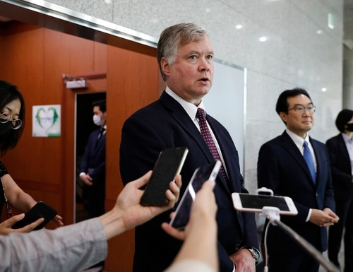 U.S. Deputy Secretary of State Stephen Biegun, center, speaks to the media beside his South Korean counterpart Lee Do-hoon after their meeting at the Foreign Ministry in Seoul on July 8, 2020. (Kim Hong-ji/Pool Photo via AP)