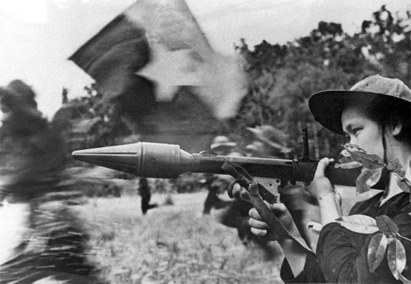 File picture shows a female Vietcong soldier in action with an anti-tank gun during a fighting in southern Cuu Long delta in the frame of the Tet general offensive launched in all the South Vietnam in spring 1968. (AFP/Getty Images)