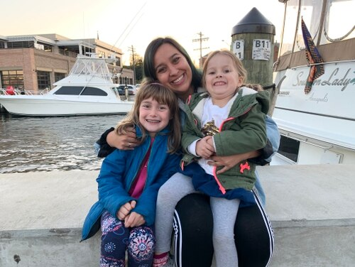 The Gile children Addison, 9 and Betty, 4, with Kayla, their recent au pair from South Africa. (Photo courtesy Gile family)