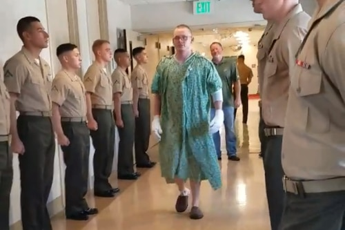 In a now-viral Facebook video, injured Marine Tagen Schmidt was promoted to lance corporal while in the hospital being treated for injuries sustained in an AAV fire. (Facebook video image)
