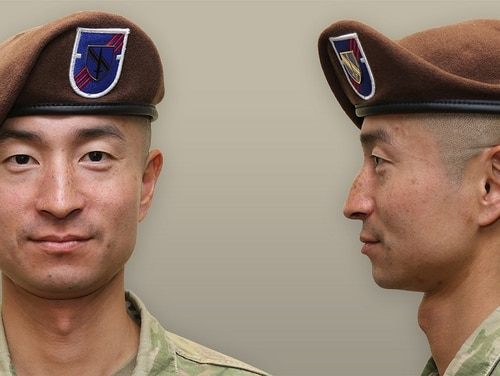 A soldier models the revamped brown 1st Security Force Assistance Brigade, unveiled Feb. 8. (Army)