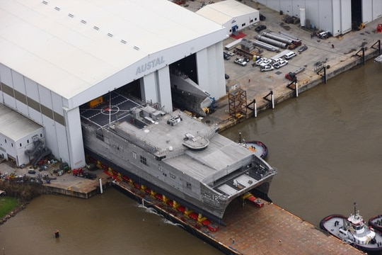 Alabama shipbuilder Austal USA launched the future expeditionary fast transport Newport into the Mobile River on Friday. It's the first Navy ship that Austal has launched in 2020. Newport is one of 14 expeditionary fast transports the Navy has contracted Austal to build. (Photo courtesy Austal USA)