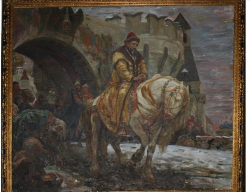 """""""Secret Departure of Ivan the Terrible Before the Oprichina,"""" a painting by Mikhail Panin. (U.S. Attorney's Office)"""