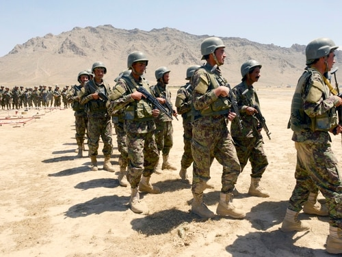 Afghan National Army-Territorial Force members prepare for an exercise at the Kabul Military Training Center in Kabul, Afghanistan, June 11, 2018. (Tech. Sgt. Sharida Jackson/Air Force)