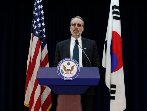 James DeHart, U.S. Department of State's a senior advisor for security negotiations and agreements bureau of political-military affairs, speaks after a meeting with South Korean counterpart on the Special Measures Agreement (SMA) at the public affairs section of the U.S. Embassy in Seoul, South Korea, Tuesday, Nov. 19, 2019. (Lee Jin-man/AP)
