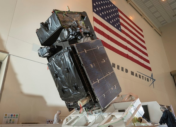 SBIRS GEO Flight 4, the next Geosynchronous Earth Orbit (GEO) satellite to join the U.S. Air Force's Space Based Infrared System (SBIRS) during assembly and test at Lockheed Martin's satellite manufacturing facility in Sunnyvale, California.