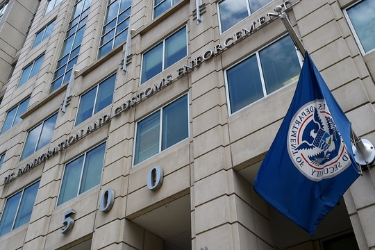 The Department of Homeland Security flag flies outside the Immigration and Customs Enforcement (ICE) headquarters in Washington on July 17, 2020. (Olivier Douliery/AFP via Getty Images)