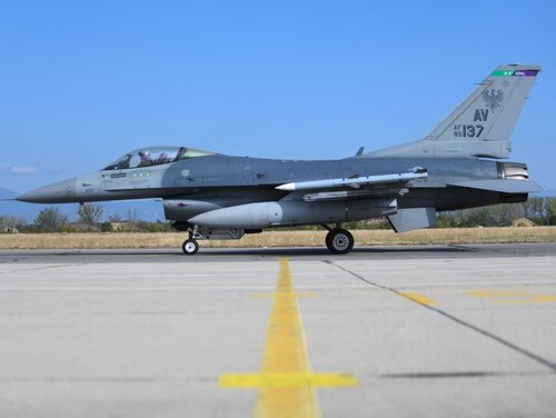 A U.S. Air Force F-16 Fighting Falcon assigned to the 555th Fighter Squadron, Aviano Air Base, Italy, taxis on the runway during exercise Thracian Viper 20 at Graf Ignatievo Air Base, Bulgaria, Sept. 21, 2020. (Airman 1st Class Ericka Woolever/Air Force)