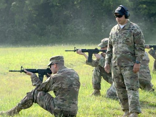 Basic rifle marksmanship courses for Army Reserve Officer's Training Corps (ROTC) cadets, in preparation for the upcoming Cadet Summer Training at Fort Knox, Kentucky. (U.S. Army photo by Sgt. 1st Class Julius Clayton/Released)