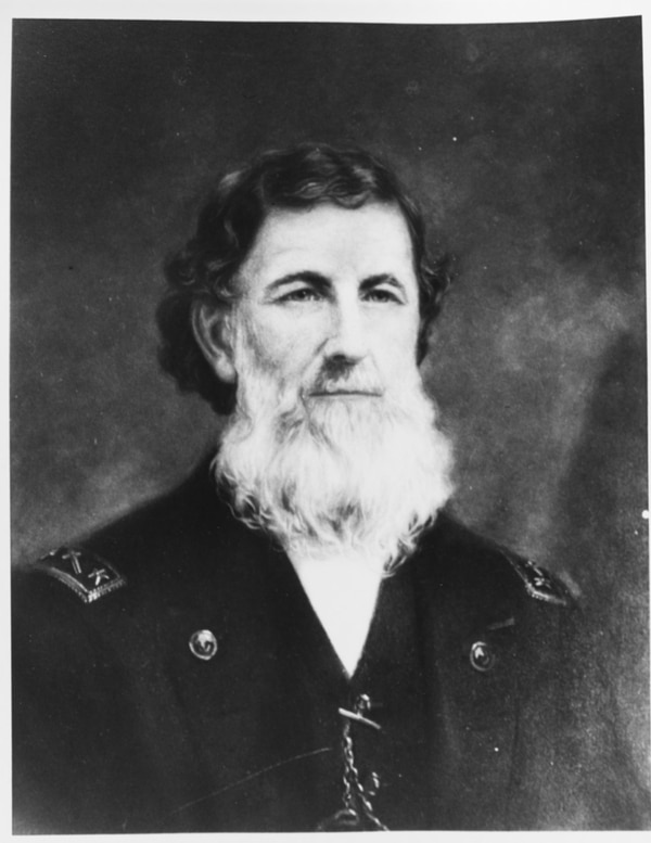 One of the first Navy chaplains to make commodore, Joseph Stockbridge (1811-1894), was a Baptist pastor who served as a chaplain from 1841 until 1873, including at sea during the Civil War. (Photograph by Clayton Braun, now in the collections of the U.S. Naval History and Heritage Command)