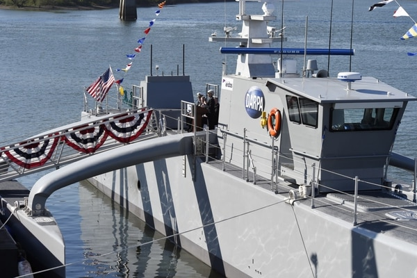The unmanned vessel Sea Hunter, built by the U.S. Defense Advanced Research Projects Agency, was given a christening ceremony in April 2016. (John F. Williams/U.S. Navy)