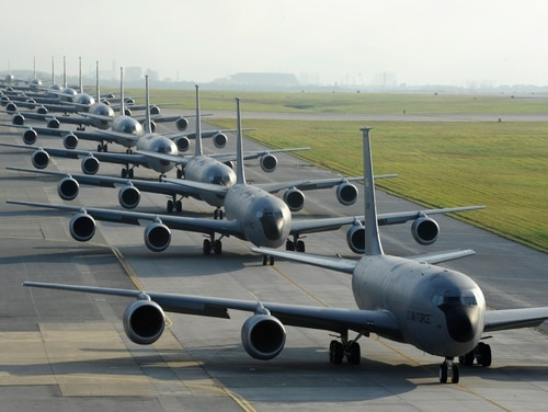 Twelve Air Force KC-135 Stratotankers, from the 909th Air Refueling Squadron, taxi onto the runway during Exercise Forceful Tiger on Kadena Air Base, Japan, April 1, 2015. During the aerial exercise, the Stratotankers delivered 800,000 pounds of fuel to approximately 50 aircraft. (U.S. Air Force photo/Staff Sgt. Marcus Morris)