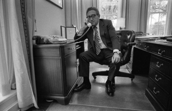 Secretary of State Henry Kissinger talks about the evacuation of Saigon on April 29, 1975. (Ford Library)