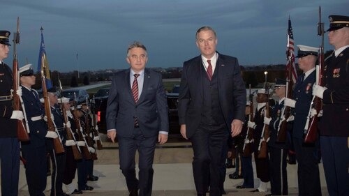 Performing the duties of deputy undersecretary of defense for policy, James Anderson, right, walks with Chairman of the Presidency of Bosnia and Herzegovina Željko Komšić at the Pentagon on Nov. 26, 2019. (Cpl. Marcos A. Alvarado/U.S. Defense Department)