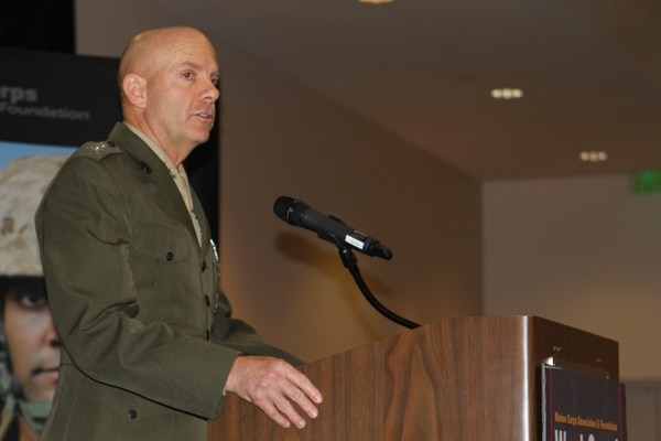 Lieutenant Gen. David H. Berger, commanding general I Marine Expeditionary Force, speaks to guests at the fifth annual Marine Corps Association and Foundation West Coast Dinner in Carlsbad, Calif., Jan. 28, 2015. The MCA&F is an organization dedicated to recognizing and promoting excellence and leadership in the Marine Corps.