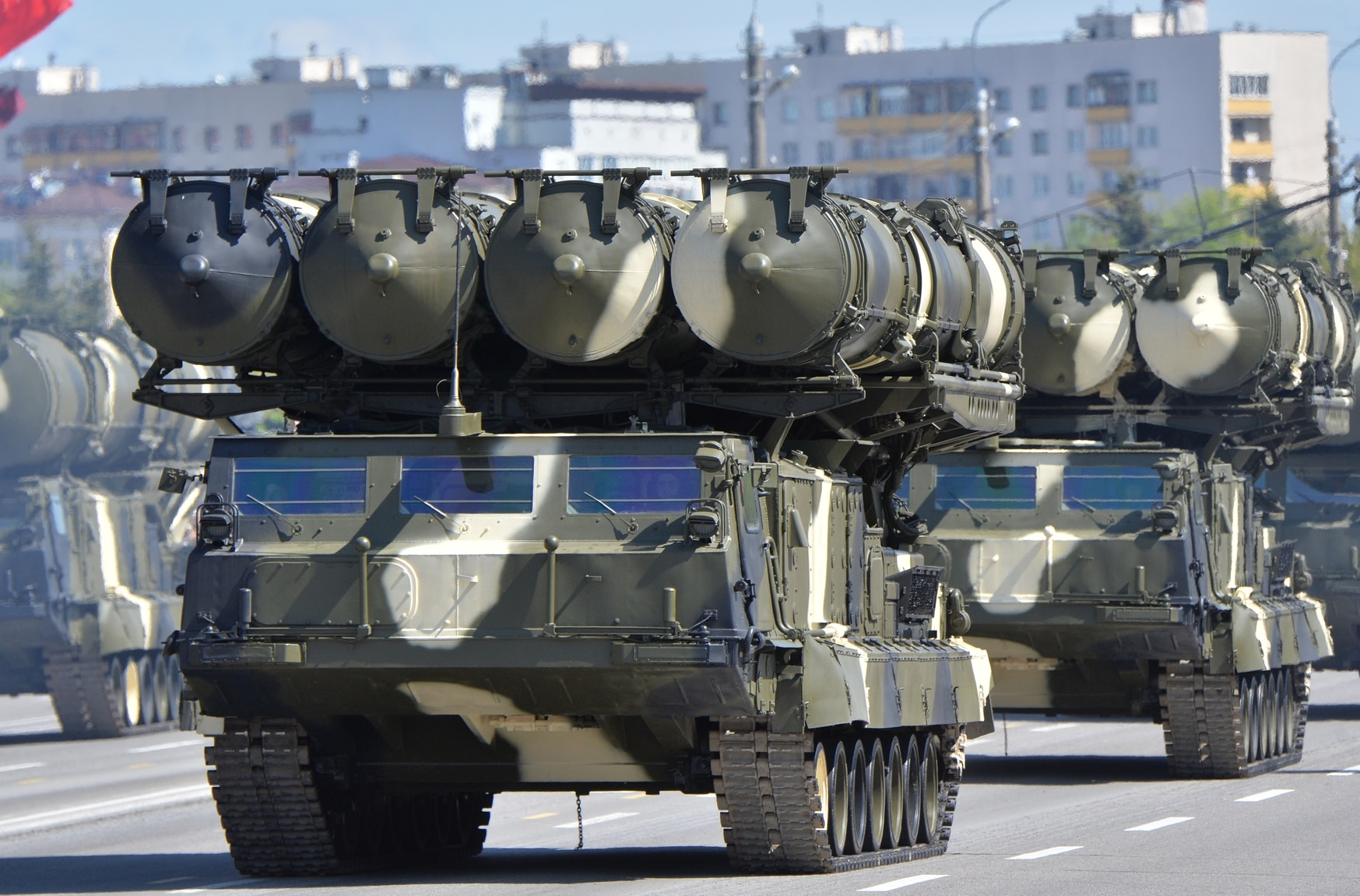 S-300 long-range surface-to-air missile systems are on display during a celebration of the 70th anniversary of victory in World War II in Minsk, Russia, on May 9, 2015. (Host/RIA Novosti via Getty Images)