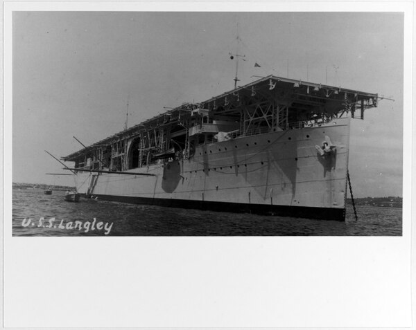 The aircraft carrier Langley (CV-1), courtesy of Donald M. McPherson, 1978. (U.S. Naval History and Heritage Command)