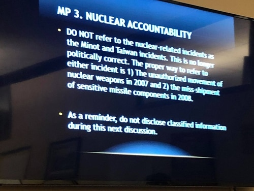 This slide on nuclear accountability and proper terminology for nuclear weapons incidents was shown during a recent Airman Leadership School presentation. (Air Force amn/nco/snco)
