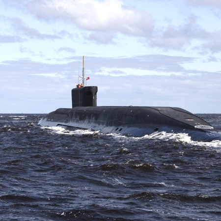 A new Russian nuclear submarine, the Yuri Dolgoruky, drives in the water area of the Sevmash factory in the northern city of Arkhangelsk on July 2, 2009. (Alexander Zemlianichenko/AFP)