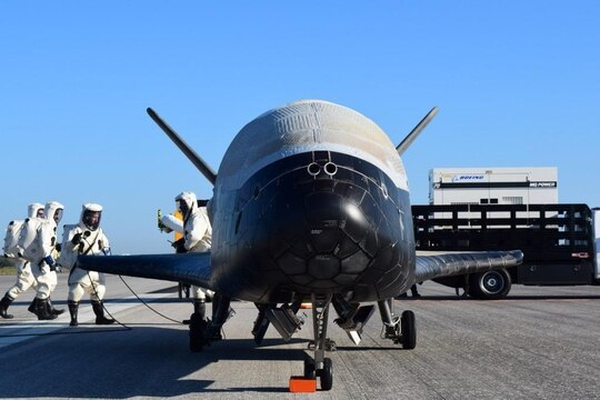 The U.S. Air Force's X-37B Orbital Test Vehicle 4 is seen after landing at NASA's Kennedy Space Center Shuttle Landing Facility in Florida on May 7, 2017. (U.S. Air Force)