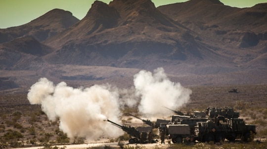 Marines with Mike Battery, 3rd Battalion, 11th Marine Regiment, 1st Marine Division, conduct a fire mission during Steel Knight 2016 (SK-16) at Marine Corps Air Ground Combat Center Twentynine Palms, California. (Lance Cpl. Ryan Kierkegaard/Marine Corps)